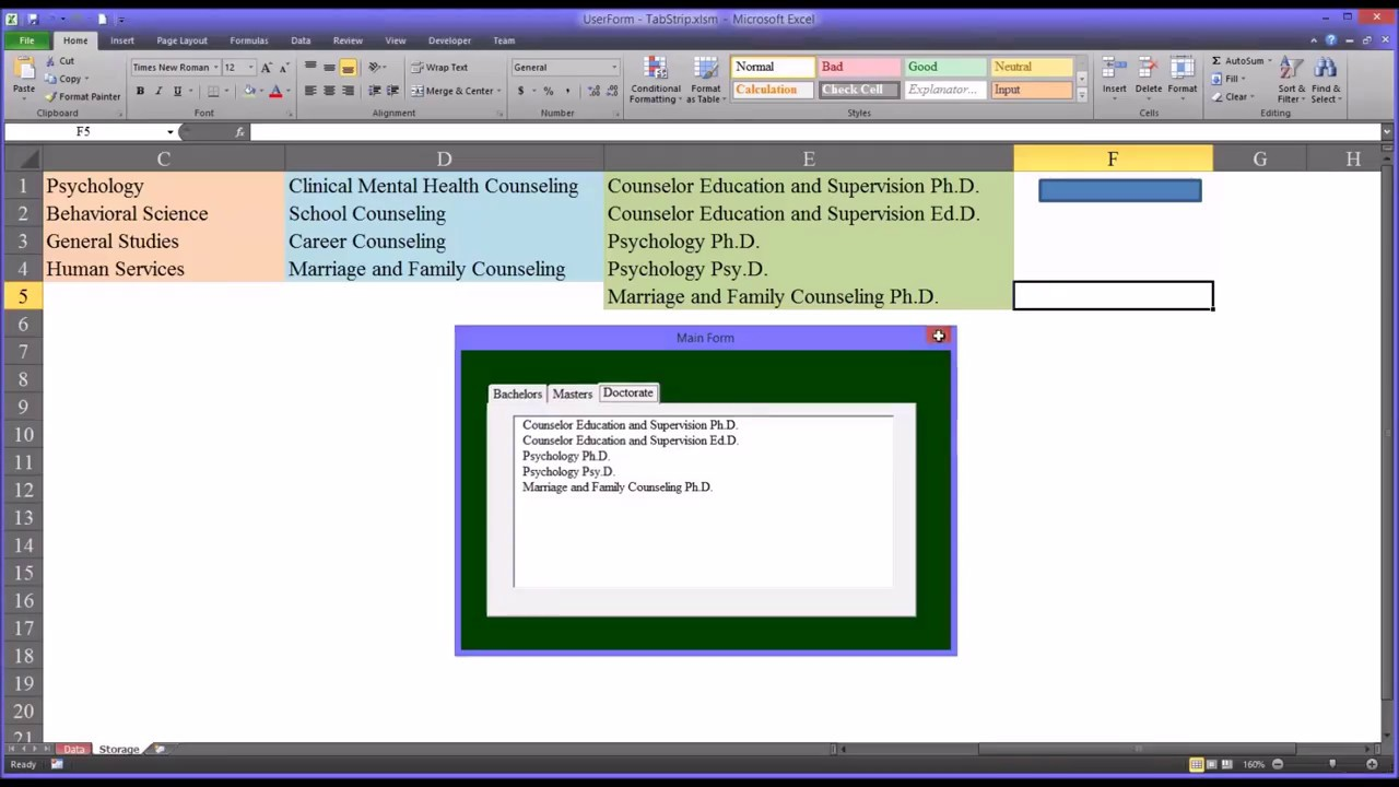 Configuring a TabStrip Control on an Excel VBA UserForm