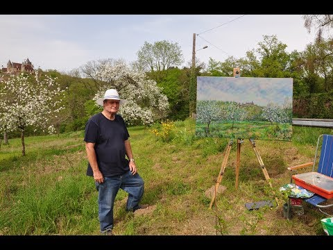 April Blossom, Spring in the Creuse. A large & smaller en plein air work.
