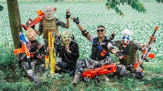 LTT Films : Bounty Hunter Silver Flash Warriors Nerf Guns Fight BIGMAN Mask Bandits