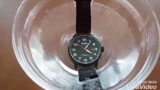 burei men s quartz wrist watches with mineral crystal black luminous dial leather strap
