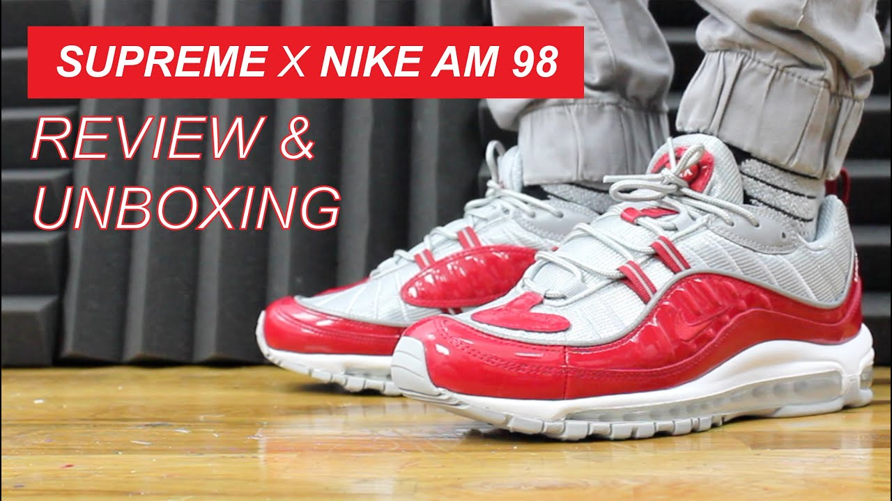 54da1d925f3 SUPREME X AIR MAX 98 VARSITY RED UNBOXING AND REVIEW - YouTube