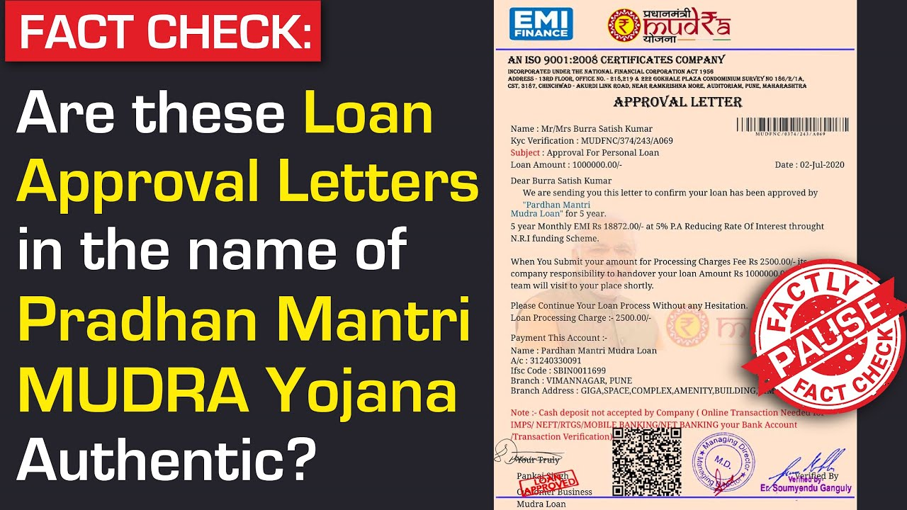Fact Check Are These Loan Approval Letters In The Name Of Pradhan Mantri Mudra Yojana Authentic Youtube