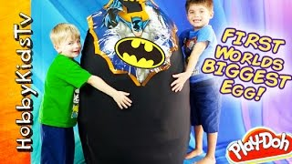 WORLDS FIRST BIGGEST SURPRISE EGG! Toys Inside BATMAN SuperHero Toys by HobbyKidsTV