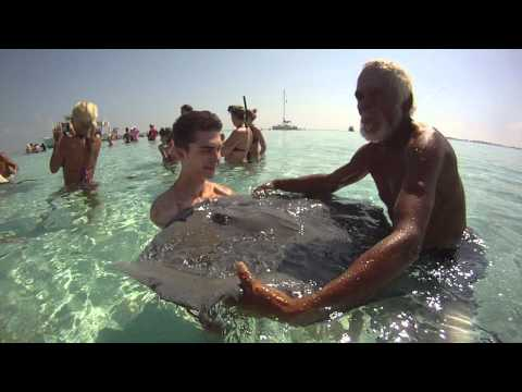 Holding stingrays in Grand Cayman