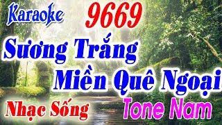 Karaoke Nhạc sống | Sương Trắng Miền Quê Ngoại | Tone Nam | Beat Keyboard Long Ẩn