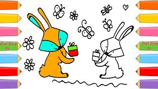 How to Draw Rabbit, Coloring Pages Animals for Kids | Art Colors for Children with Colorful Markers