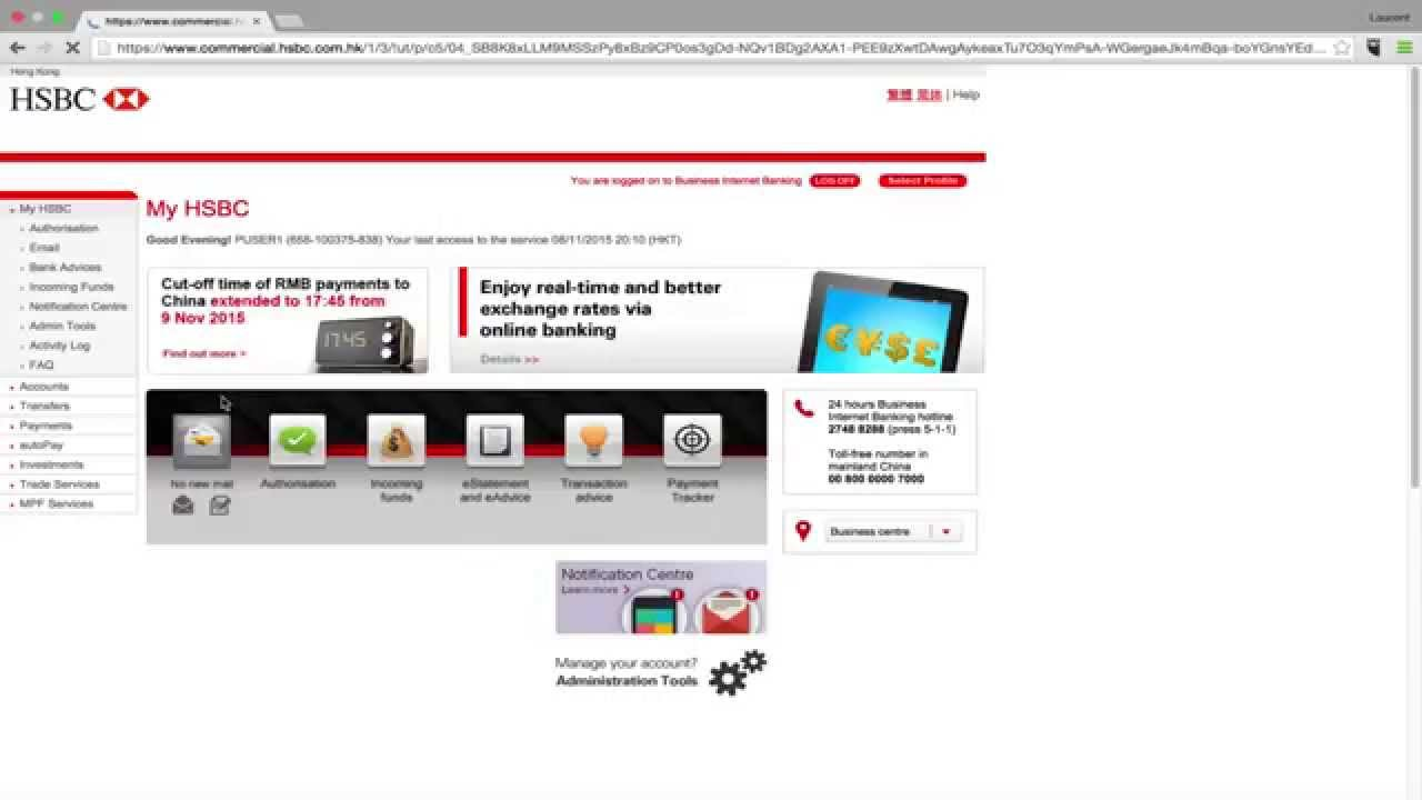 Get your e-statements HSBC company bank account in Hong Kong