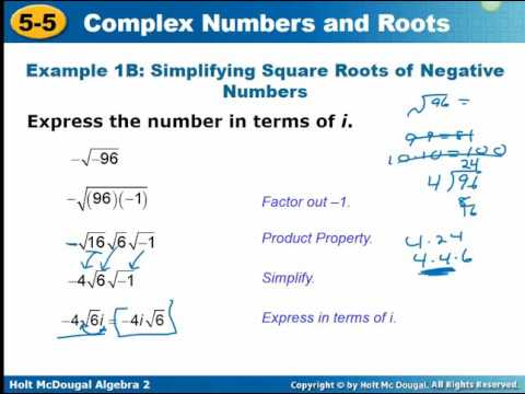 Algebra 2: 5.5 Complex Numbers and Roots Video - YouTube