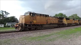 Union Pacific engine 6619 leads a intermodal with 2 mid DPU engines