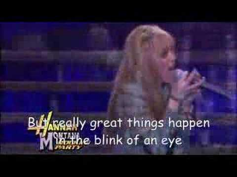 Youtube hannah montana one in a million lyrics