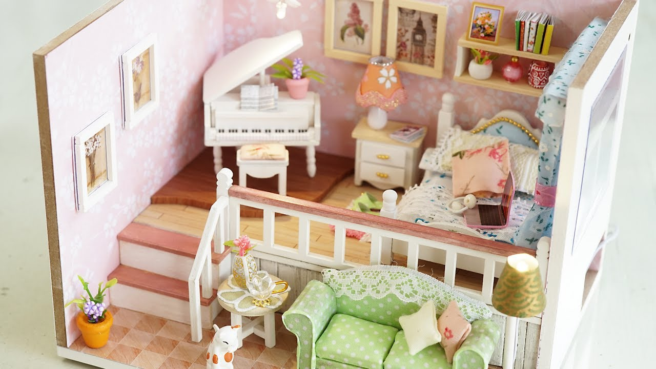 DIY Girly Miniature Dollhouse kit with Furniture u0026 Lights & DIY Girly Miniature Dollhouse kit with Furniture u0026 Lights - YouTube azcodes.com
