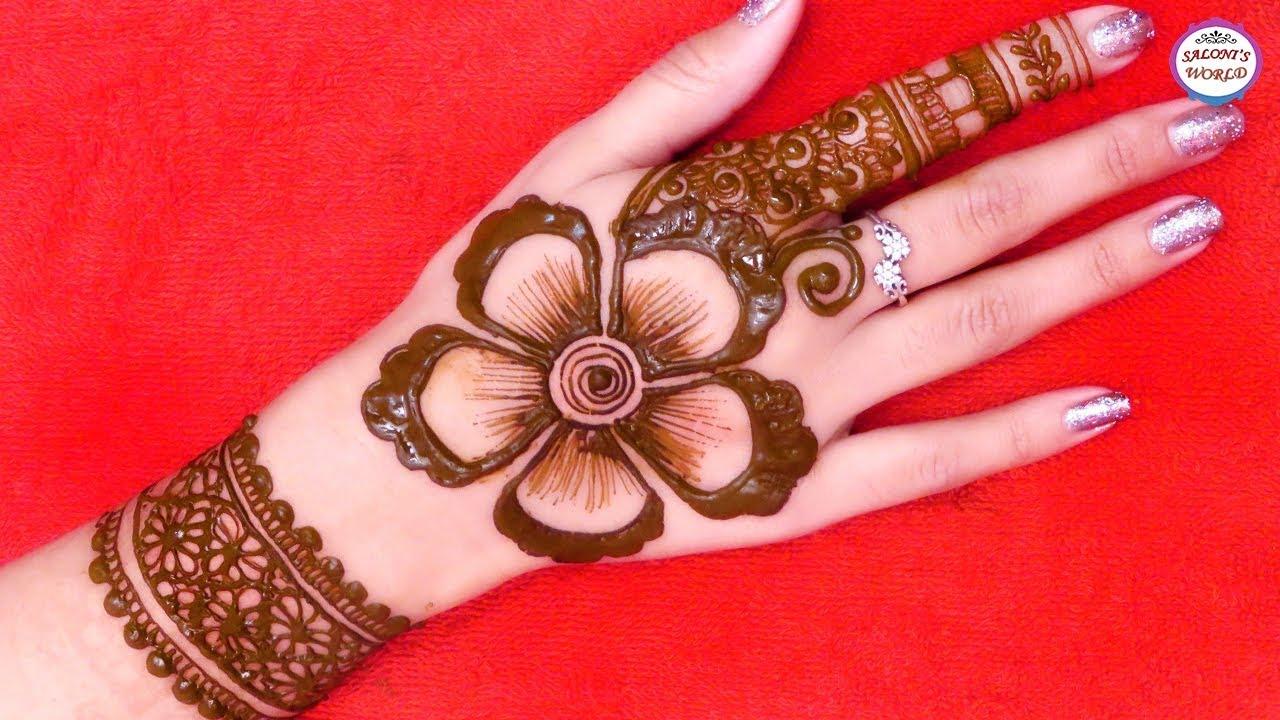 Arabic Mehndi Patterns S : Beautiful big flower back hand arabic henna designs d mehndi