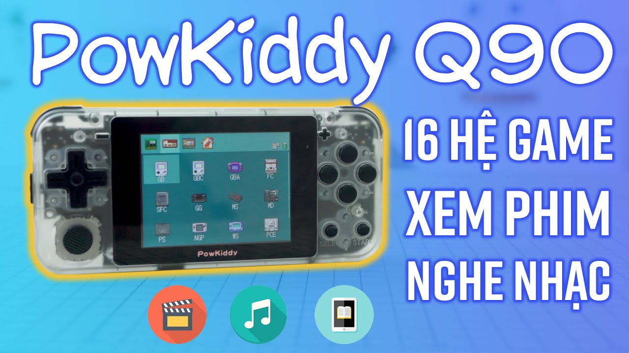 Máy chơi game Powkiddy Q90 649k: chơi 16 hệ máy, xem phim, nghe nhạc -  YouTube