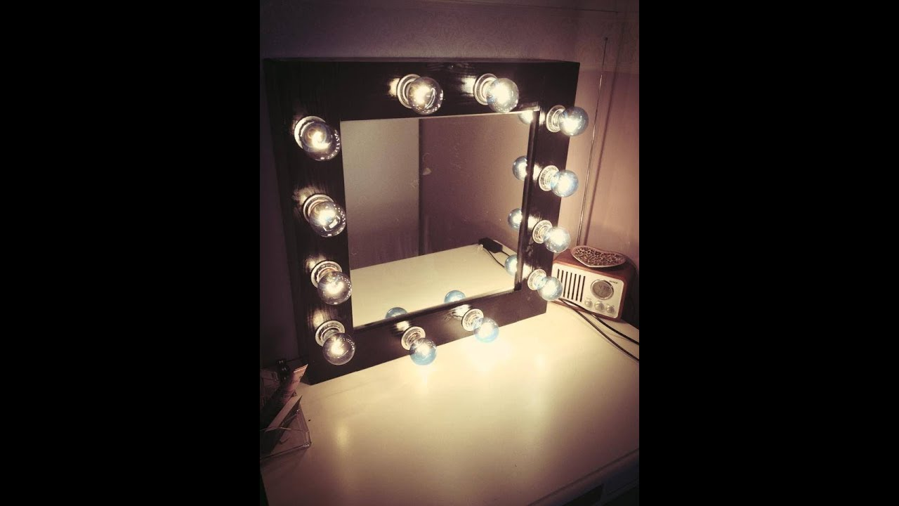 Diy makeup mirror with lights youtube mozeypictures