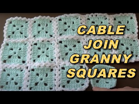 Crochet Stitches To Join Granny Squares : WATCH How To Attach Granny Squares With Cable Stitch - EASY - YouTube