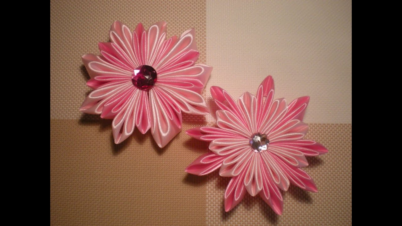 Канзаши цветы из атласных лент мастер класс видео новинки