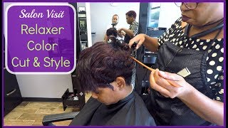 How I Relax, Color & Cut My Hair on the SAME DAY!! | Pixie Cut | Relaxed Short Hair | Hair Tutorial