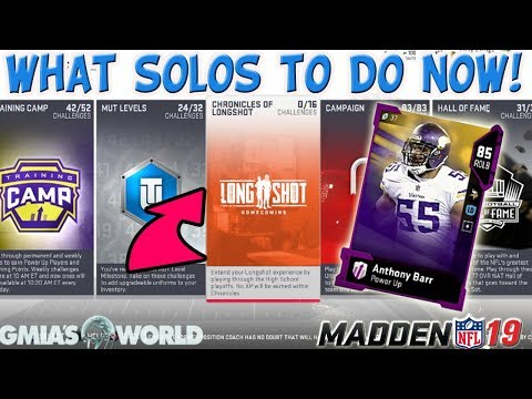 MADDEN 19 ULTIMATE TEAM BEST SOLOS TO COMPLETE FOR MUT COINS AND 87+ OVR ELITE REWARDS!!!