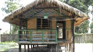 Tourist Hut On Stilts With Bamboo Furniture At Kaziranga