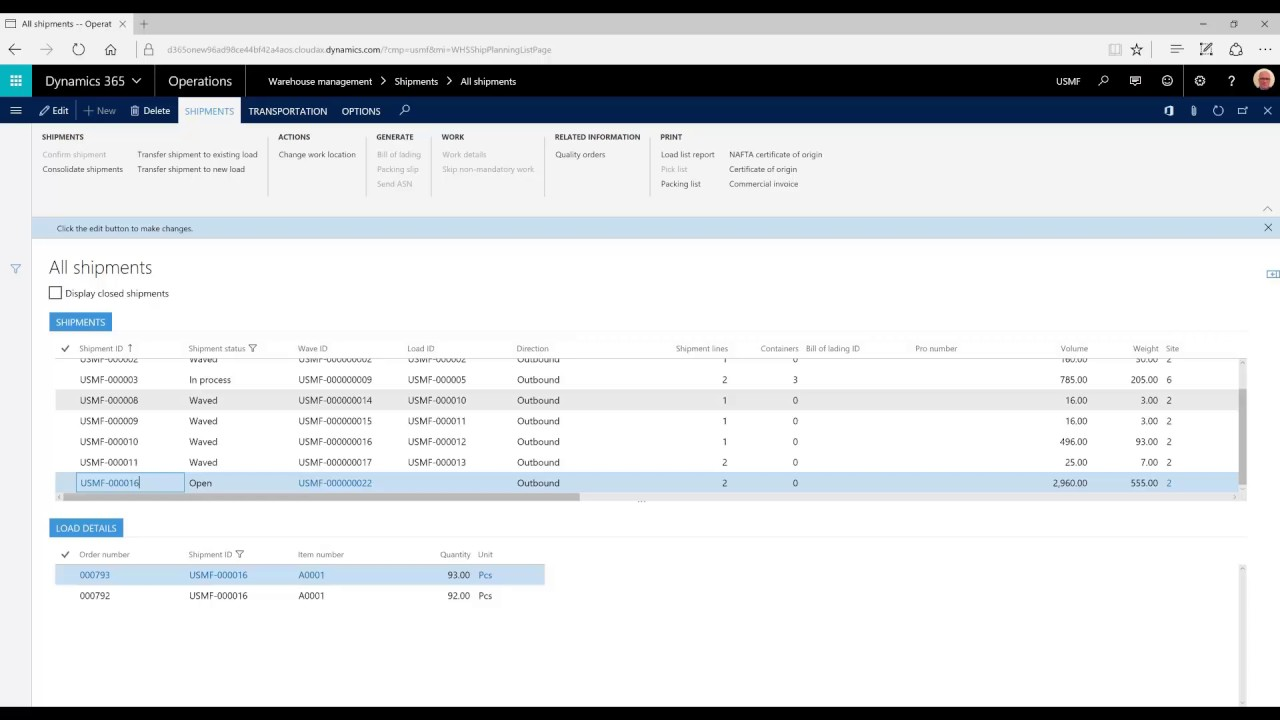 Combine multiple sales orders into one shipment - Dynamics 365 for  Operations