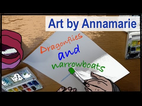 Art by Anna | How to paint dragonflies and canal narrowboat | Part 1