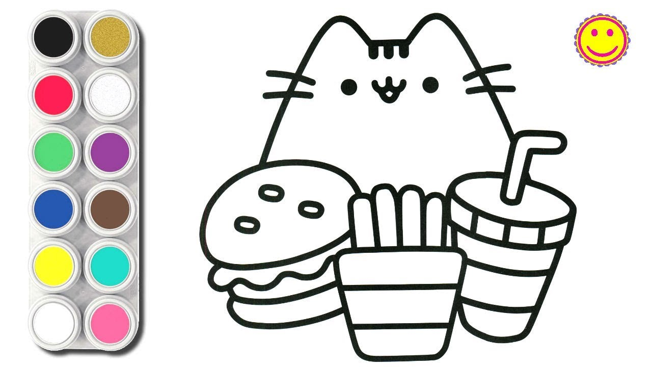 How To Draw Cute Cat And Food Coloring Pages For Kids