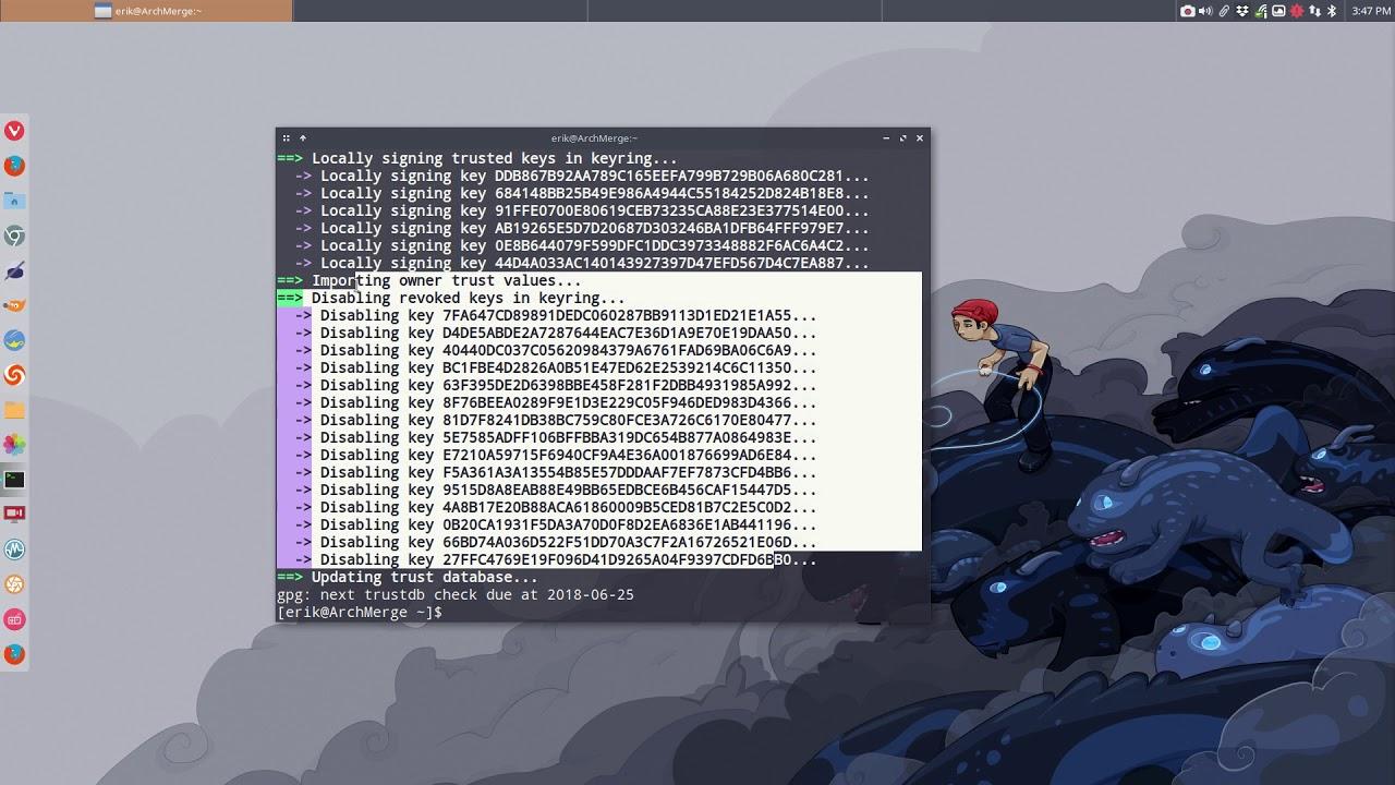 Arch Linux Pacman Error Is Unknown Trust