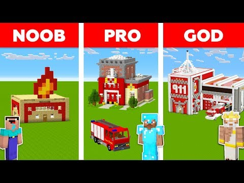 Minecraft NOOB vs PRO vs GOD: FIRE STATION in Minecraft / Funny Animation