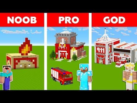 Minecraft NOOB Vs PRO Vs GOD: FIRE STATION In Minecraft / Funny Animation