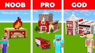 Minecraft Noob Vs Pro Vs God Fire Station In Minecraft  Funny Animation