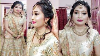 Engagement Makeup Step By Step/Girl Ring Ceremony Makeup/मेकअप हेअरस्टाइल और सर से चुन्नी कैसे ले