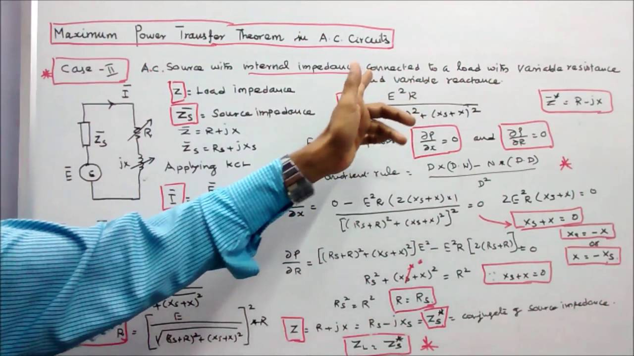 Network Theorems Part 10 Maximum Power Transfer Theorem In Ac Circuits