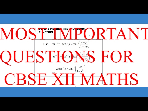 CBSE XII MATHS MOST IMPORTANT QUESTIONS