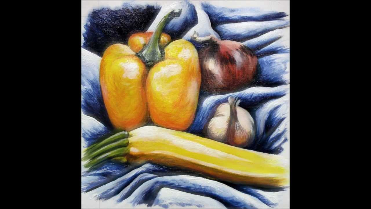 how to paint still life with acrylic fruit and vegetables youtube