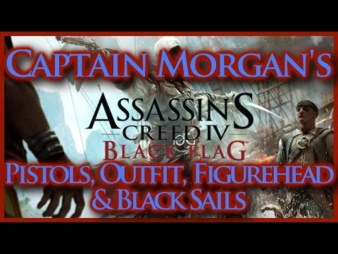 ASSASSINS CREED IV BLACK FLAG | CAPTAIN MORGAN'S PISTOLS OUTFIT FIGUREHEAD & BLACK SAILS | HD