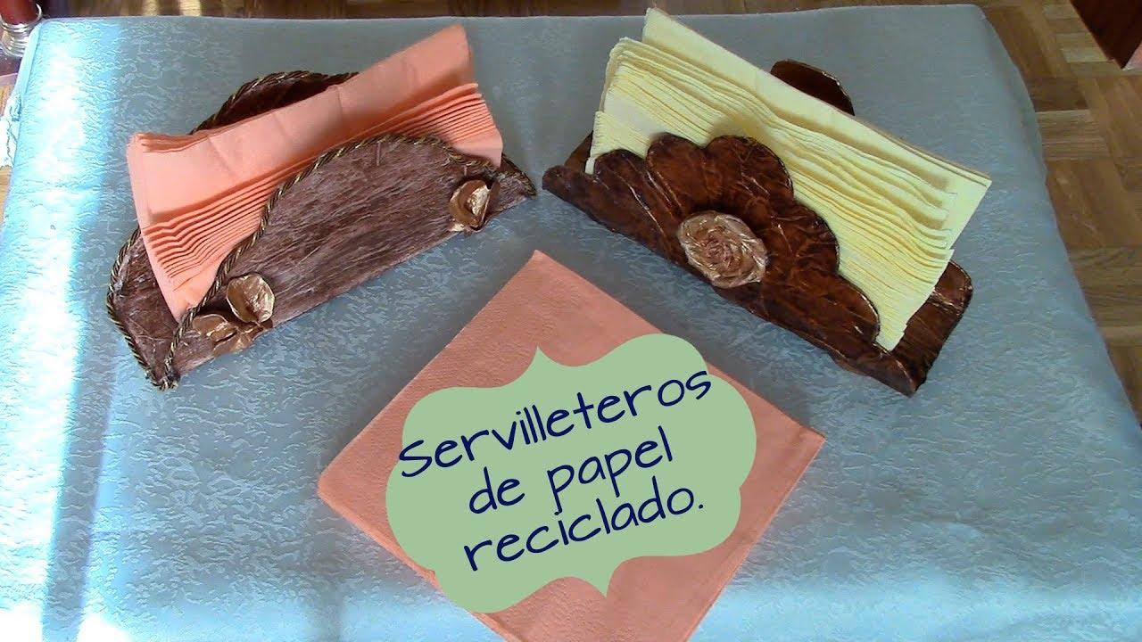 Servilleteros de papel reciclado recycled paper napkin - Manualidades de papel reciclado ...