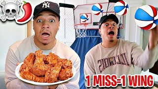 MISS The MINI HOOP BASKETBALL SHOT, EAT A GHOST PEPPER HOT WING!! (1,000,000+ SCOVILLE UNITS)