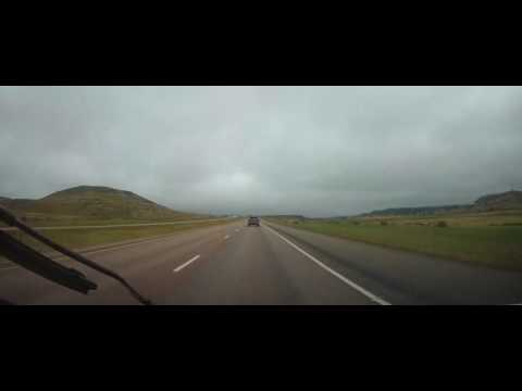 Driving on Interstate 90 from Gillette, Wyoming to Rapid City, South Dakota
