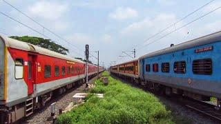 Howrah Rajdhani brutally chases Coalfield Express at Begampur railway station