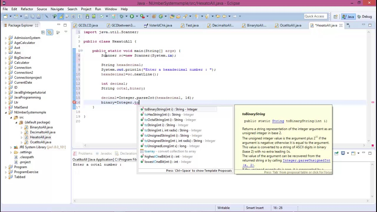 Hexadecimal to Decimal Binary and Octal i java programming