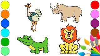 Учим названия животных | Как рисовать животных | Животные для детей