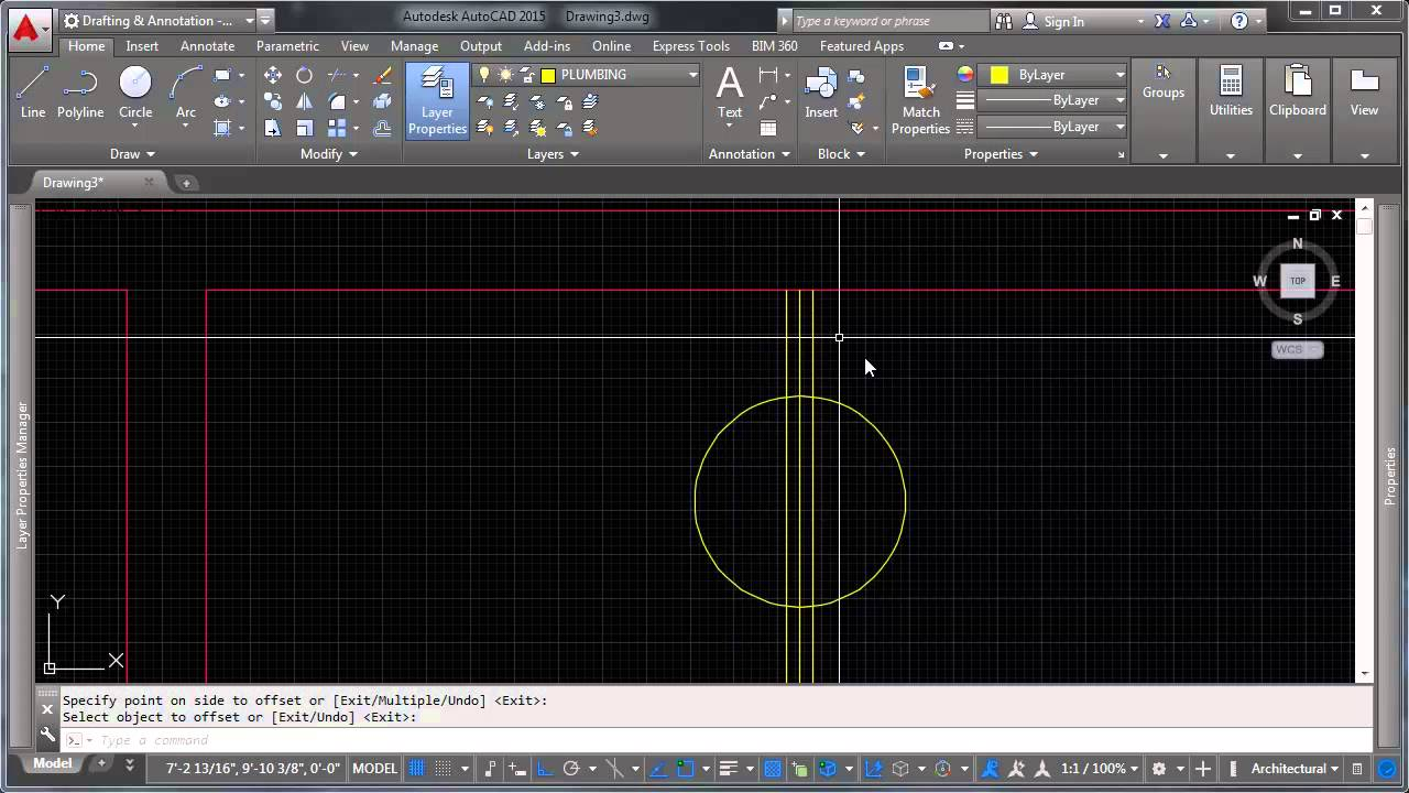 intro to autocad 2015 08 1 example drawing 1 youtube