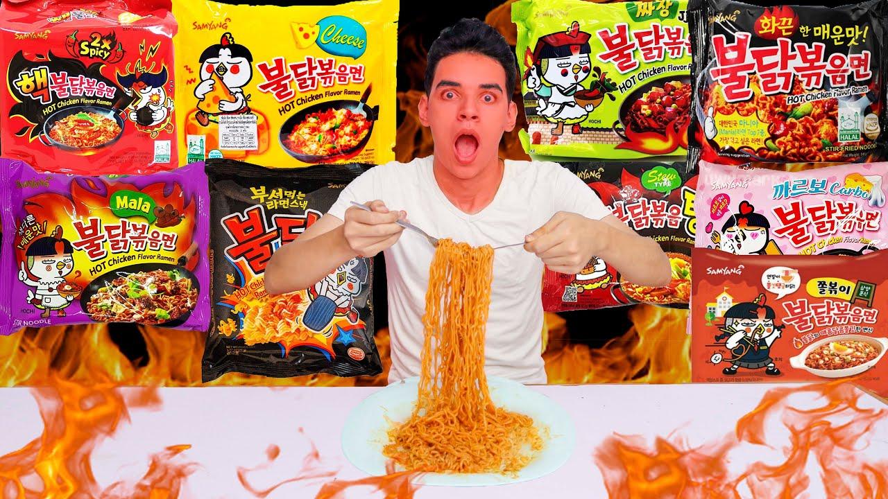 تجربة اكل جميع انواع الاندومي الكوري الحار اتصدمت من الطعم Youtube