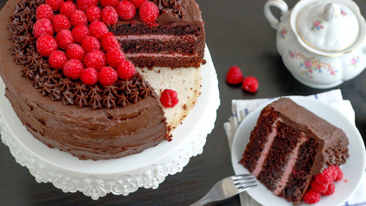Ultimate Red Wine Chocolate Raspberry Cake Recipe | HappyFoods   YouTube