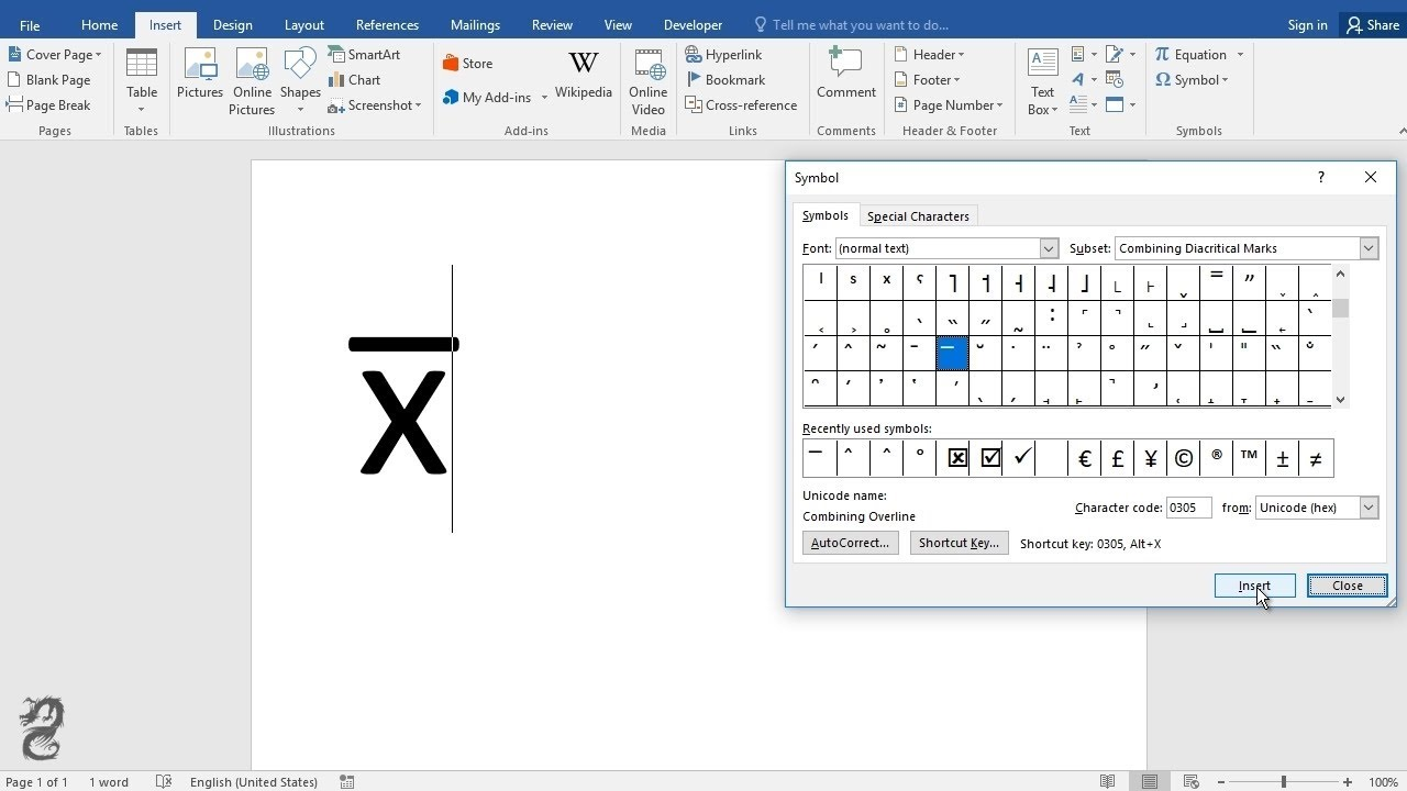 How to type X-BAR in word - YouTube