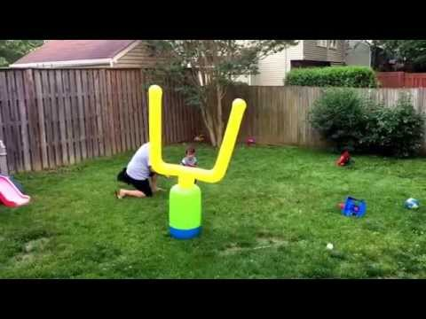 Toddler sports, field goal, amazing kick, toddler football, athlete, kicker, natural athlete