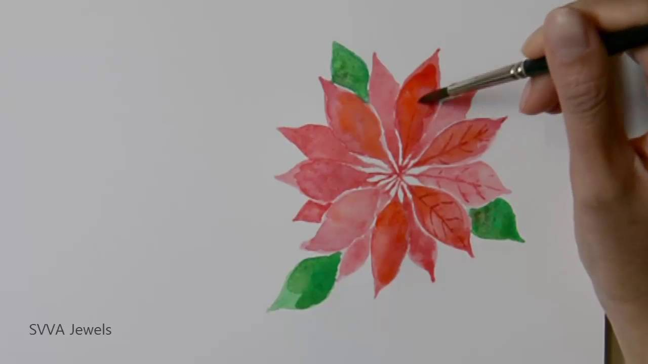 How to Paint Poinsettia or Christmas Star Flower in Watercolor ...