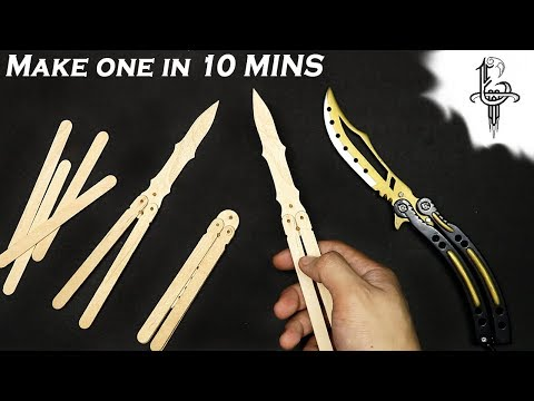 Super Easy way to make butterfly knife popsicle sticks - DIY 2019
