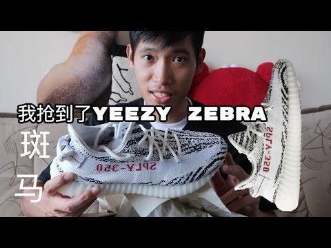 [球鞋生活]我抢到了Adidas Yeezy 350 Zebra白色斑马 哈哈! 义宁TV