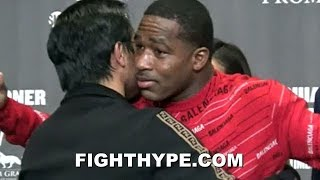 PACQUIAO AND BRONER POST-FIGHT; EMBRACE DESPITE DEFIANT OUTBURST FOLLOWING OUTCOME